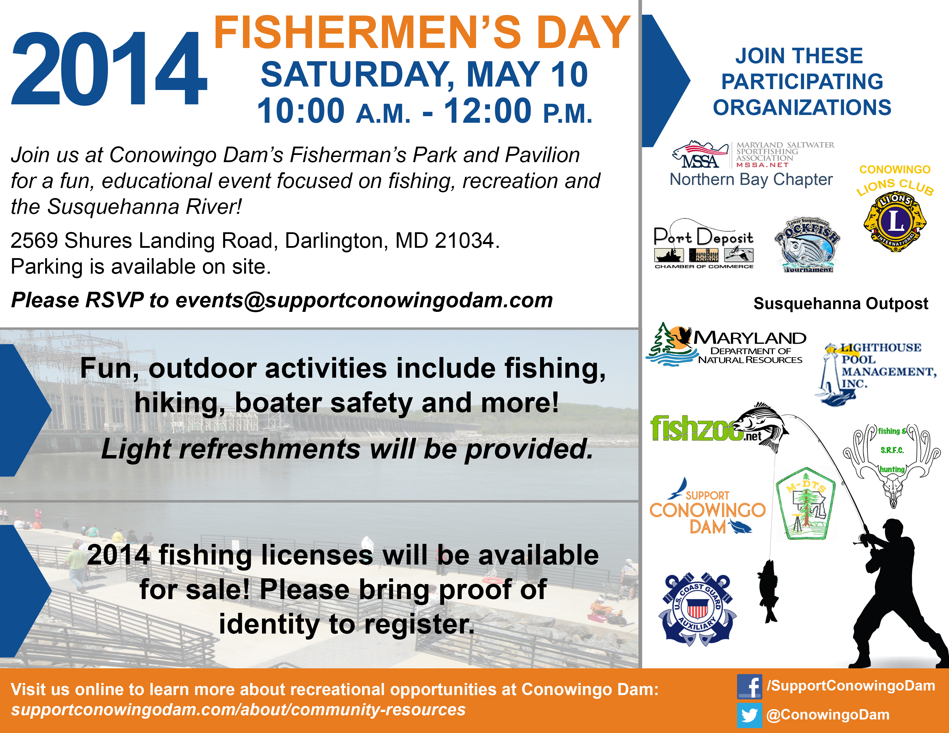 Fishermen 39 s day saturday may 10 support conowingo dam for Colorado one day fishing license